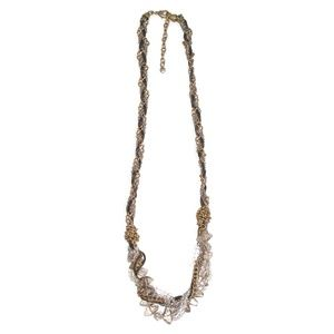 LOFT Necklace Knotted Chains Beaded Long Bead